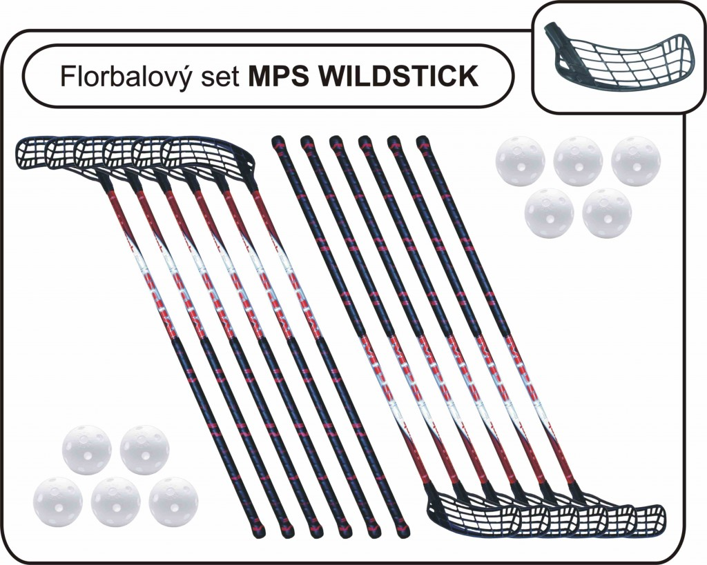 Set MPS Wildstick Black (12 hokejok)