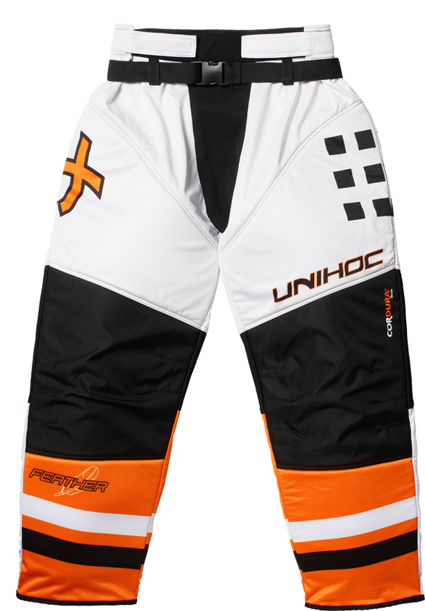 Unihoc Feather White/Neon Orange SR brankárske nohavice