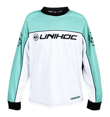 Unihoc Keeper White/Turquoise JR brankársky dres