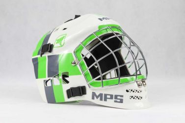 MPS White/Green Metal helmet