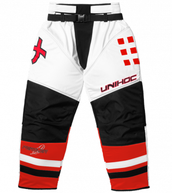 Unihoc Feather JR White/Neon Red brankárske nohavice