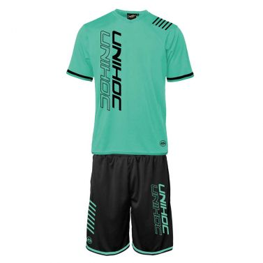 Unihoc Vendetta Turquoise/Black JR set
