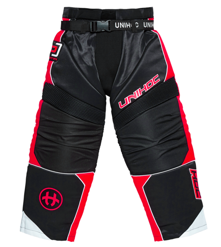 Unihoc Optima JR Black/Neon Red brankárske nohavice