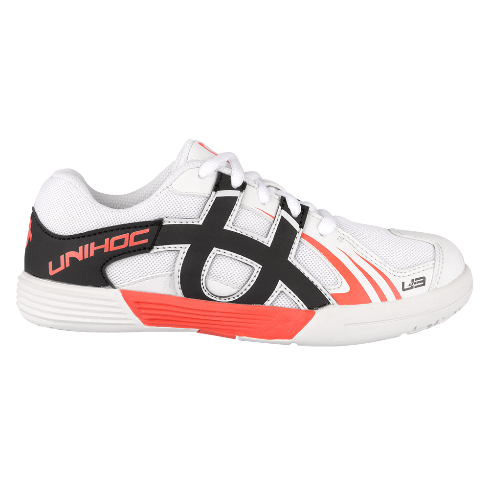 Unihoc U3 White/Neon Red Junior