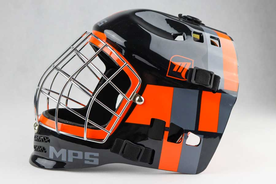 MPS Black/Orange Metal helmet